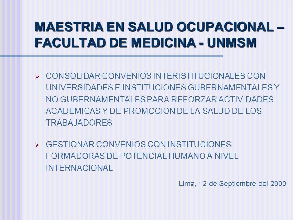 MAESTRIA EN SALUD OCUPACIONAL – FACULTAD DE MEDICINA - UNMSM
