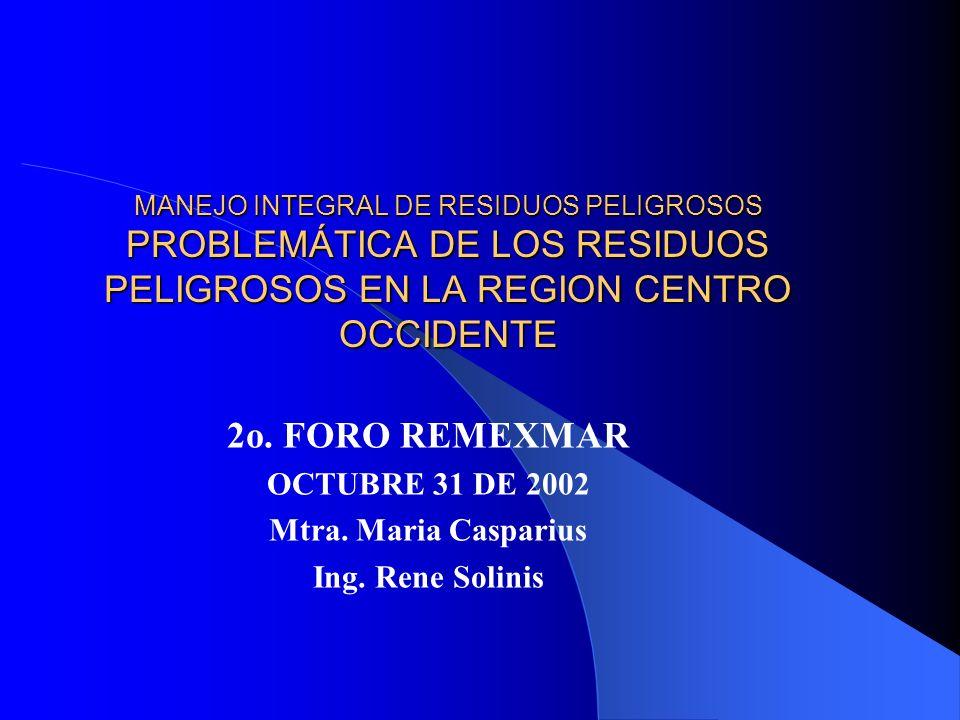 2o. FORO REMEXMAR OCTUBRE 31 DE 2002 Mtra. Maria Casparius