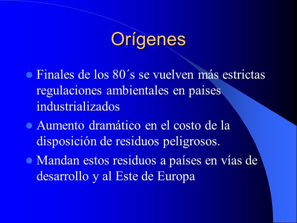 Orígenes Finales de los 80´s se vuelven más estrictas regulaciones ambientales en paises industrializados.