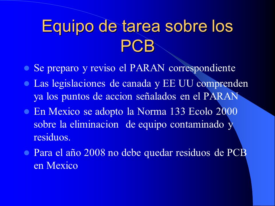 Equipo de tarea sobre los PCB