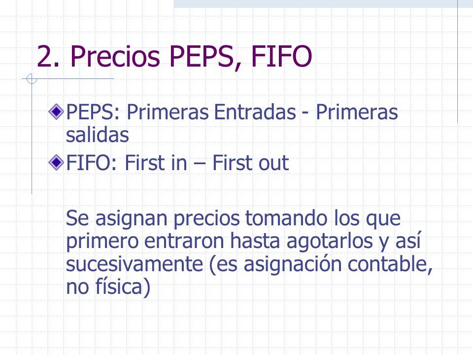 2. Precios PEPS, FIFO PEPS: Primeras Entradas - Primeras salidas