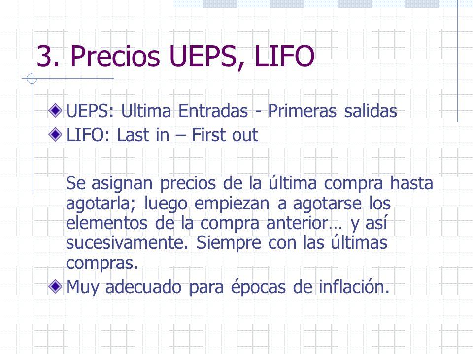 3. Precios UEPS, LIFO UEPS: Ultima Entradas - Primeras salidas