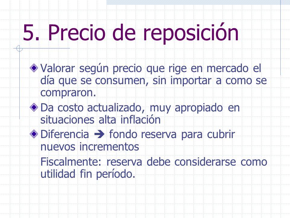 5. Precio de reposición Valorar según precio que rige en mercado el día que se consumen, sin importar a como se compraron.