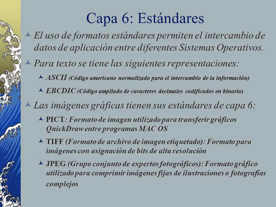 Capa 6: Estándares El uso de formatos estándares permiten el intercambio de datos de aplicación entre diferentes Sistemas Operativos.