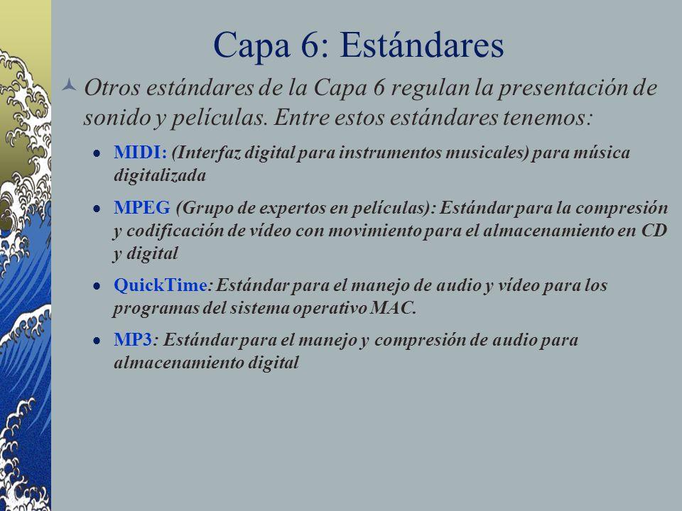 Capa 6: Estándares Otros estándares de la Capa 6 regulan la presentación de sonido y películas. Entre estos estándares tenemos: