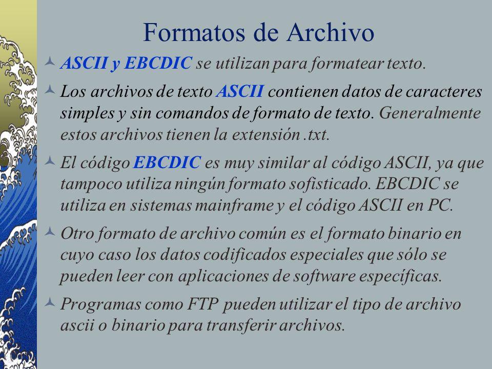 Formatos de Archivo ASCII y EBCDIC se utilizan para formatear texto.