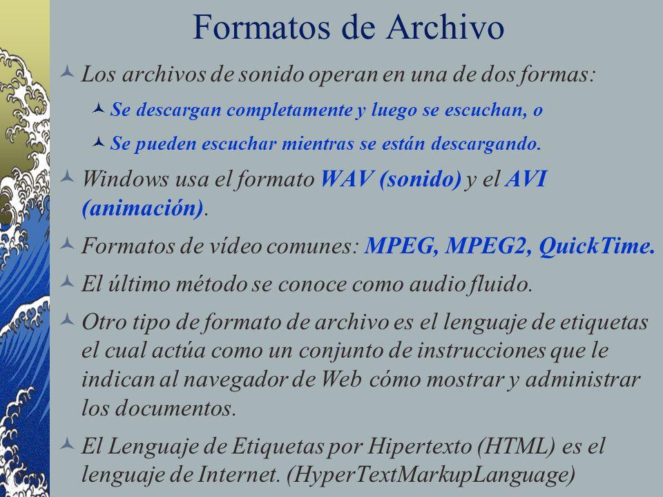Formatos de Archivo Los archivos de sonido operan en una de dos formas: Se descargan completamente y luego se escuchan, o.