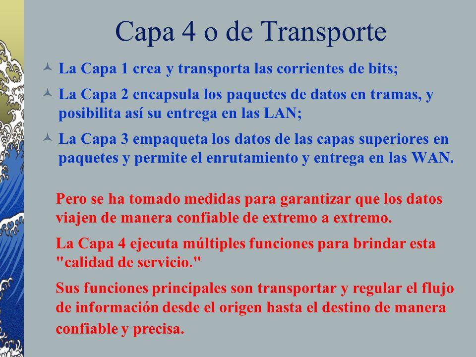 Capa 4 o de Transporte La Capa 1 crea y transporta las corrientes de bits;