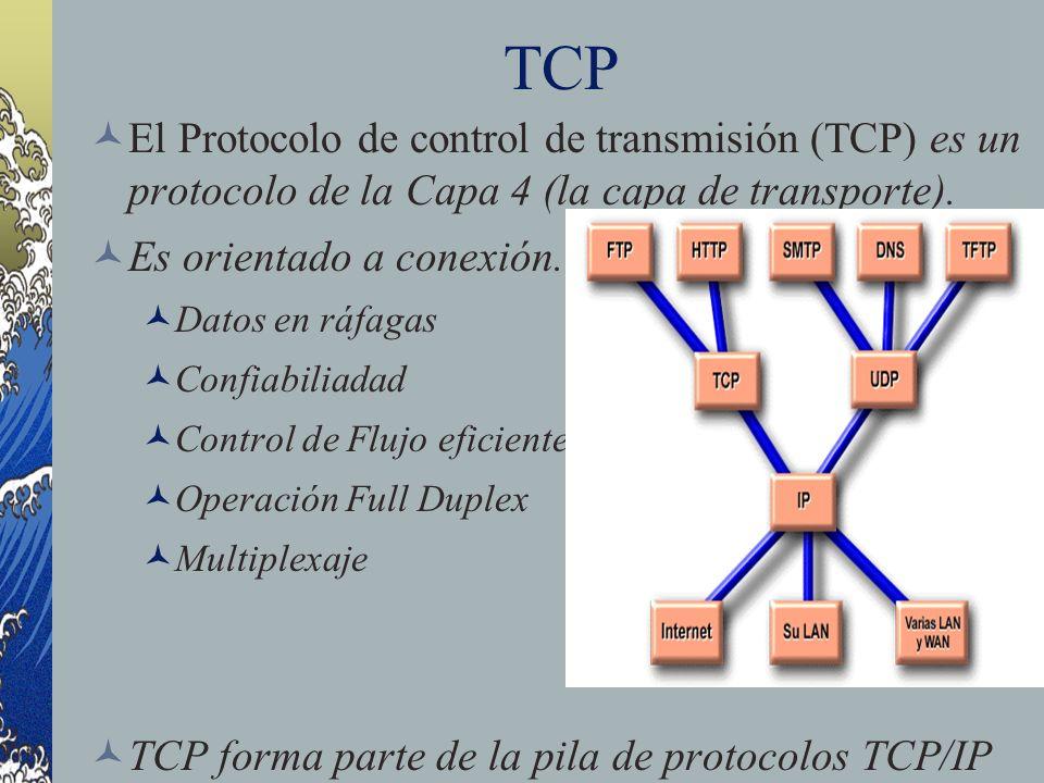 TCP El Protocolo de control de transmisión (TCP) es un protocolo de la Capa 4 (la capa de transporte).