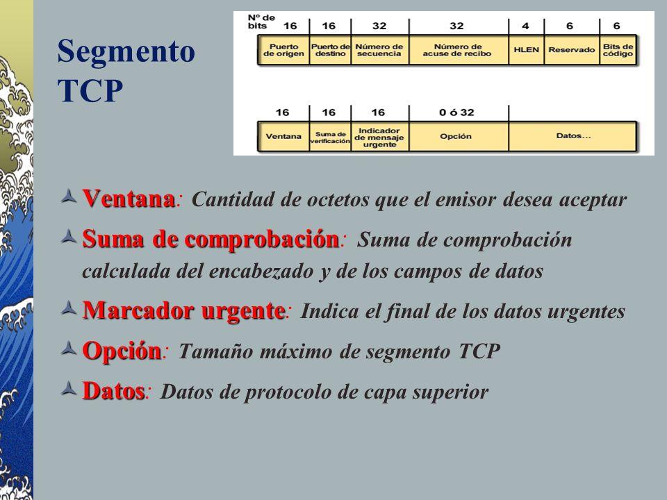 Segmento TCP Ventana: Cantidad de octetos que el emisor desea aceptar