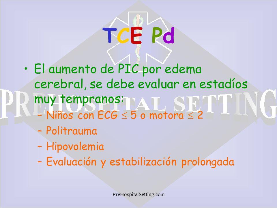 TCE Pd El aumento de PIC por edema cerebral, se debe evaluar en estadíos muy tempranos: Niños con ECG  5 o motora  2.