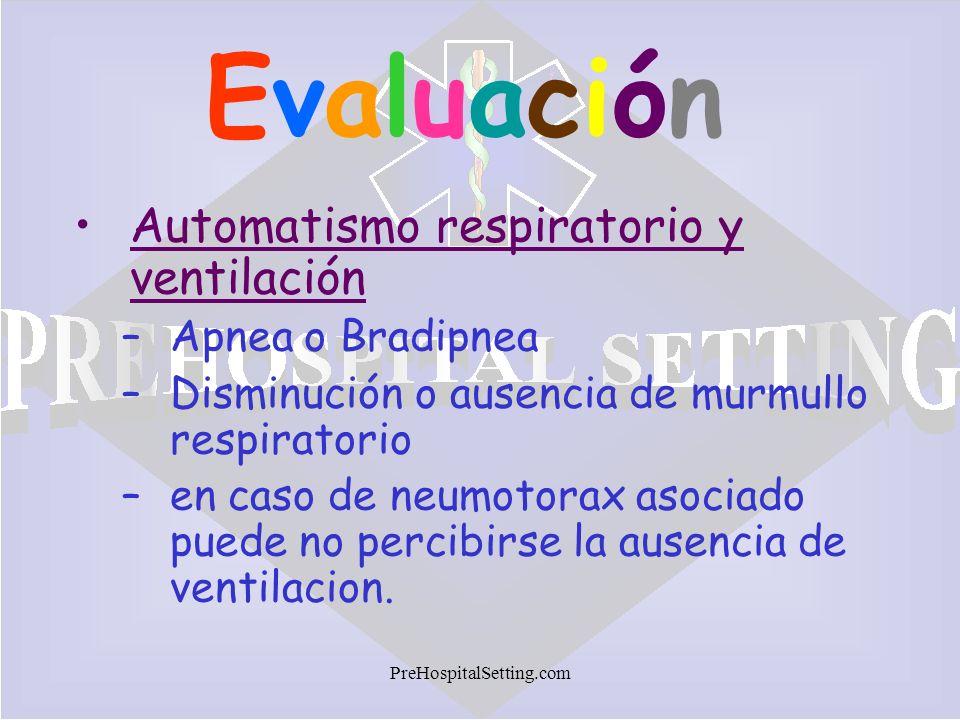 Evaluación Automatismo respiratorio y ventilación Apnea o Bradipnea