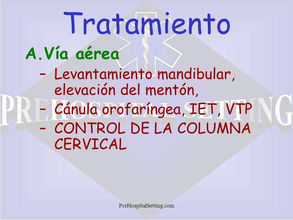 Tratamiento Vía aérea Levantamiento mandibular, elevación del mentón,