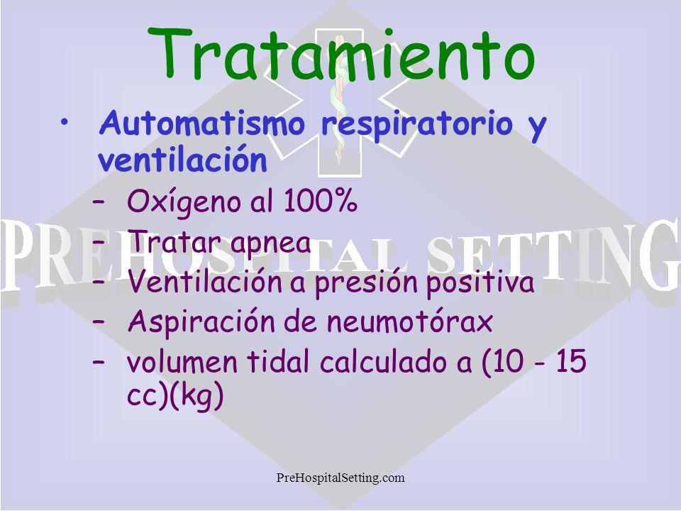 Tratamiento Automatismo respiratorio y ventilación Oxígeno al 100%