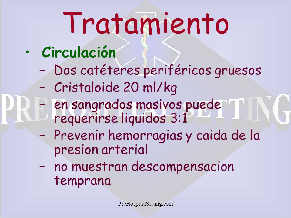 Tratamiento Circulación Dos catéteres periféricos gruesos