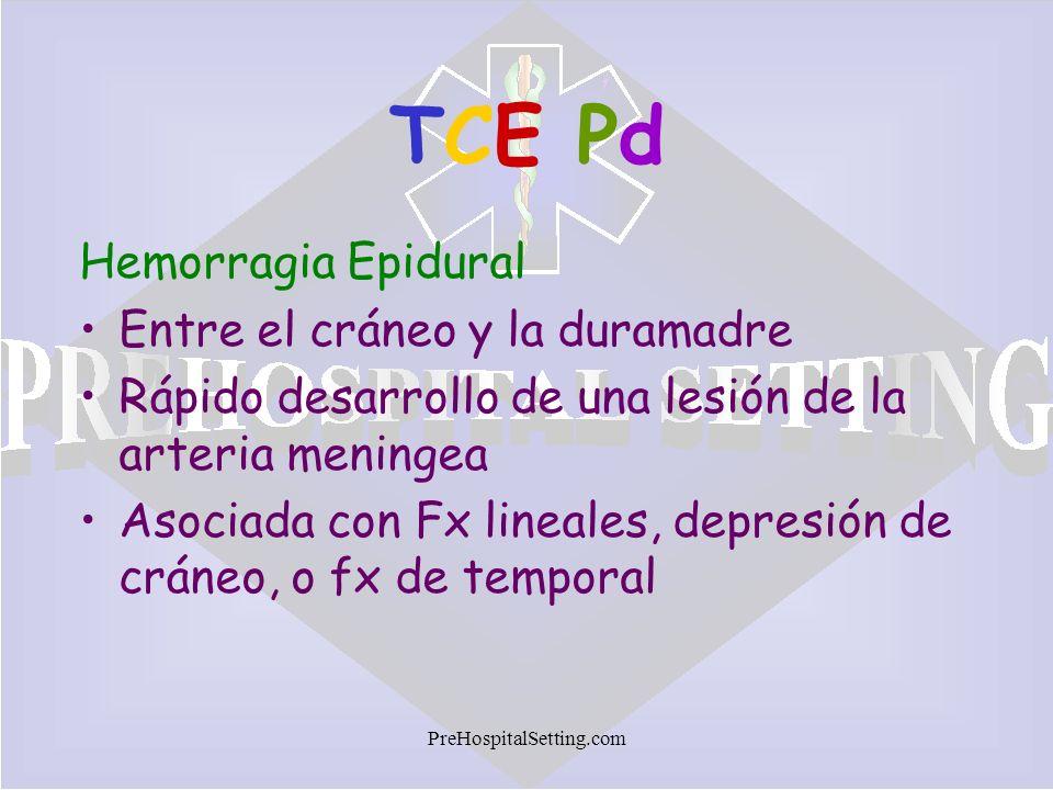 TCE Pd Hemorragia Epidural Entre el cráneo y la duramadre