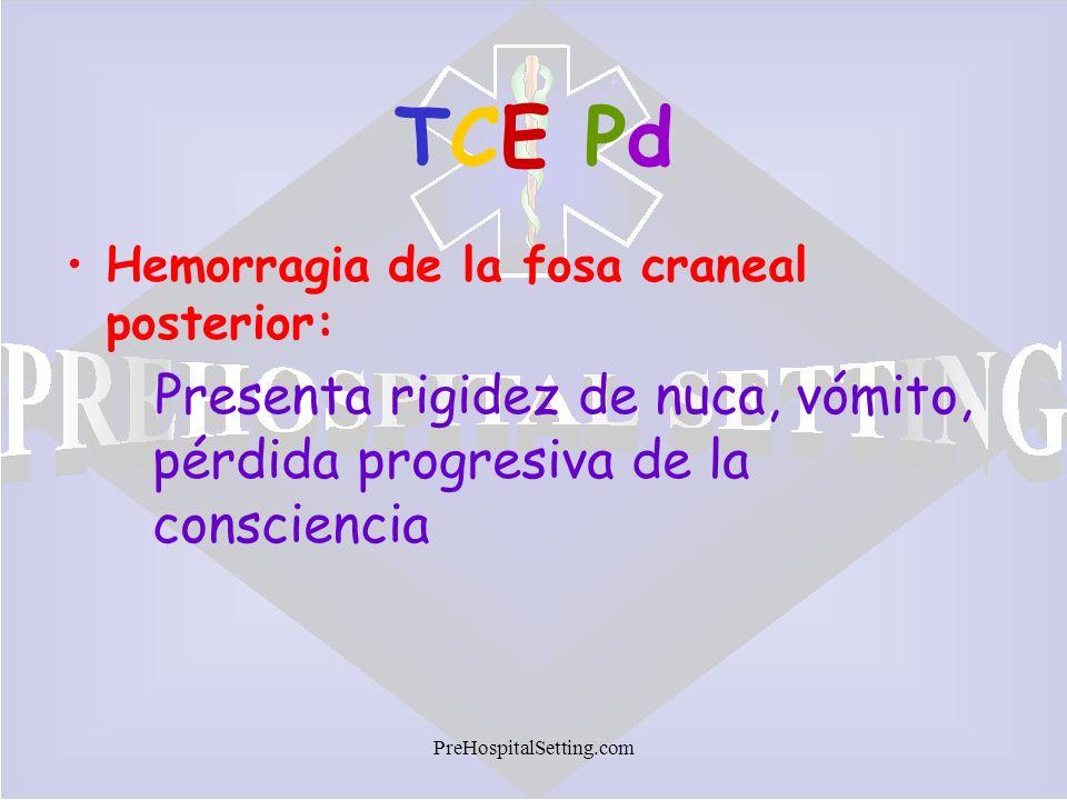 TCE PdHemorragia de la fosa craneal posterior: Presenta rigidez de nuca, vómito, pérdida progresiva de la consciencia.