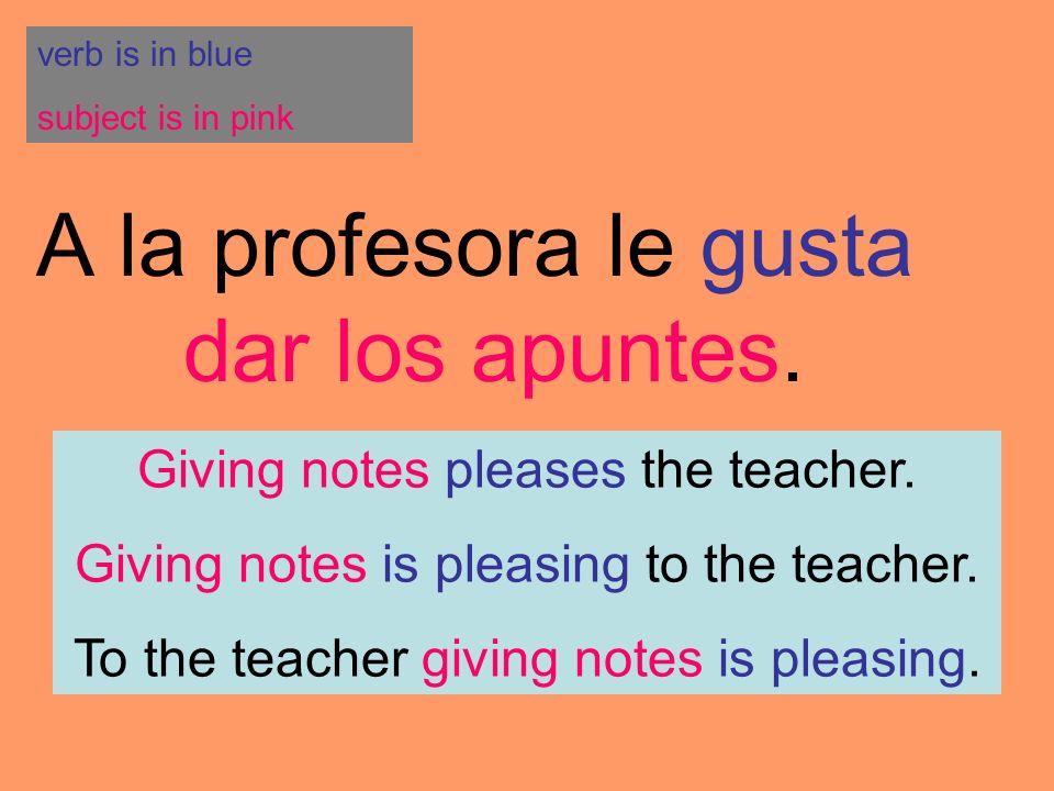 A la profesora le gusta dar los apuntes.
