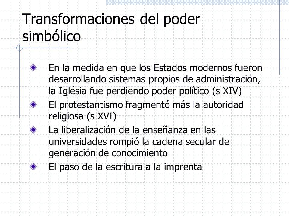 Transformaciones del poder simbólico