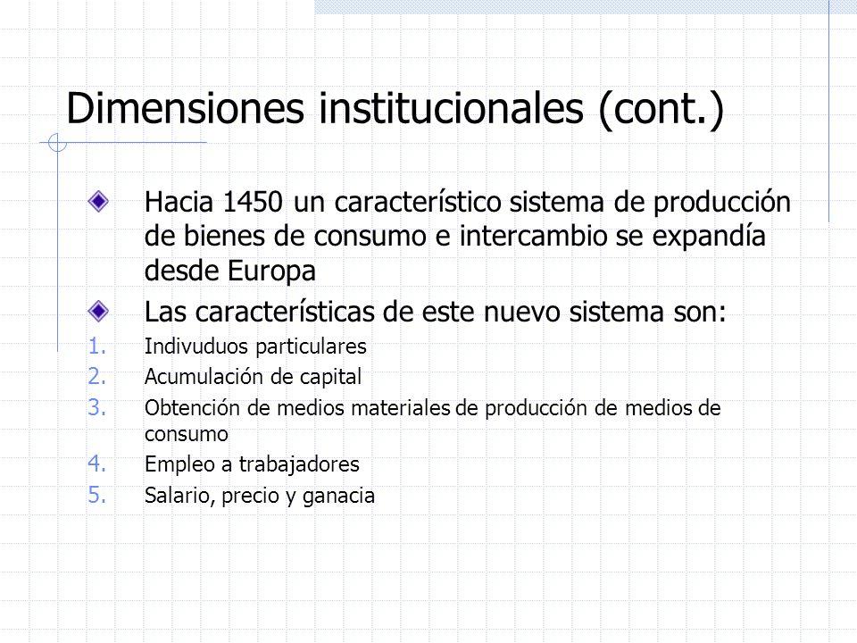 Dimensiones institucionales (cont.)
