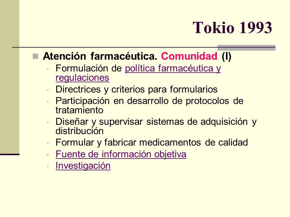 Tokio 1993 Atención farmacéutica. Comunidad (I)