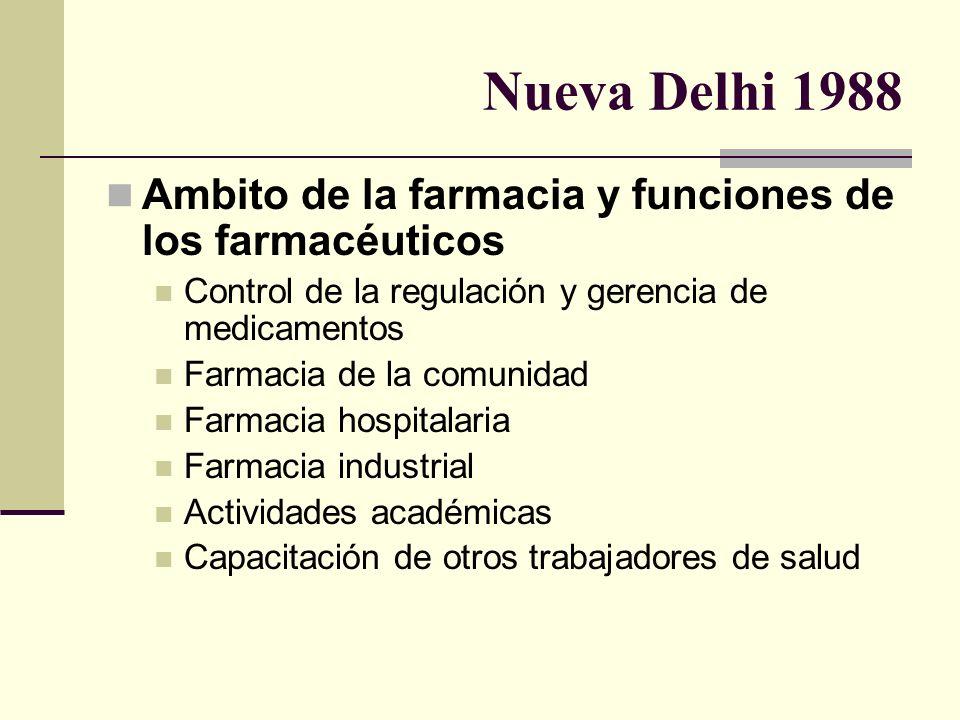 Nueva Delhi 1988 Ambito de la farmacia y funciones de los farmacéuticos. Control de la regulación y gerencia de medicamentos.