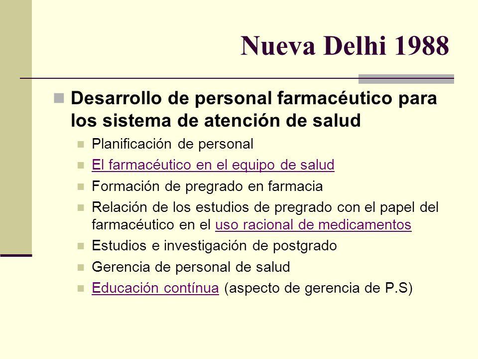 Nueva Delhi 1988 Desarrollo de personal farmacéutico para los sistema de atención de salud. Planificación de personal.