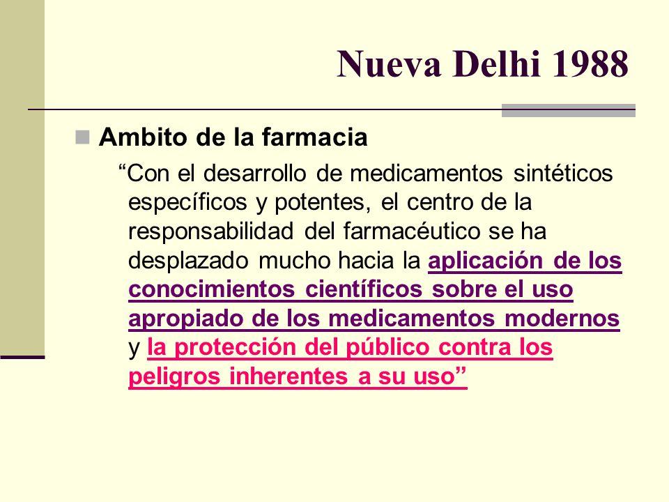 Nueva Delhi 1988 Ambito de la farmacia