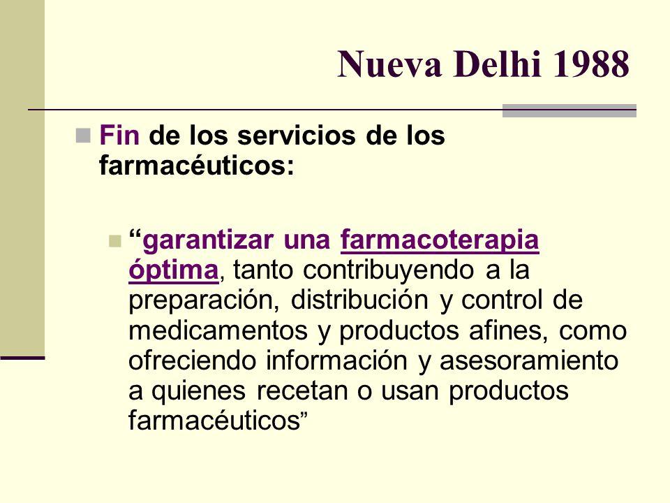 Nueva Delhi 1988 Fin de los servicios de los farmacéuticos: