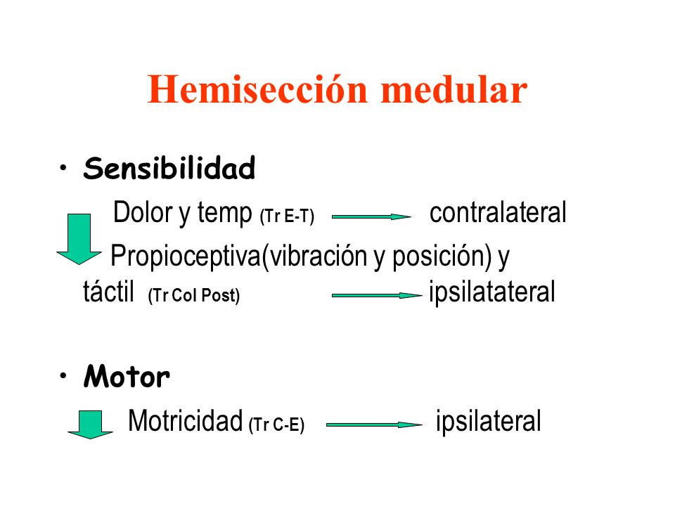 Hemisección medular Sensibilidad Dolor y temp (Tr E-T) contralateral