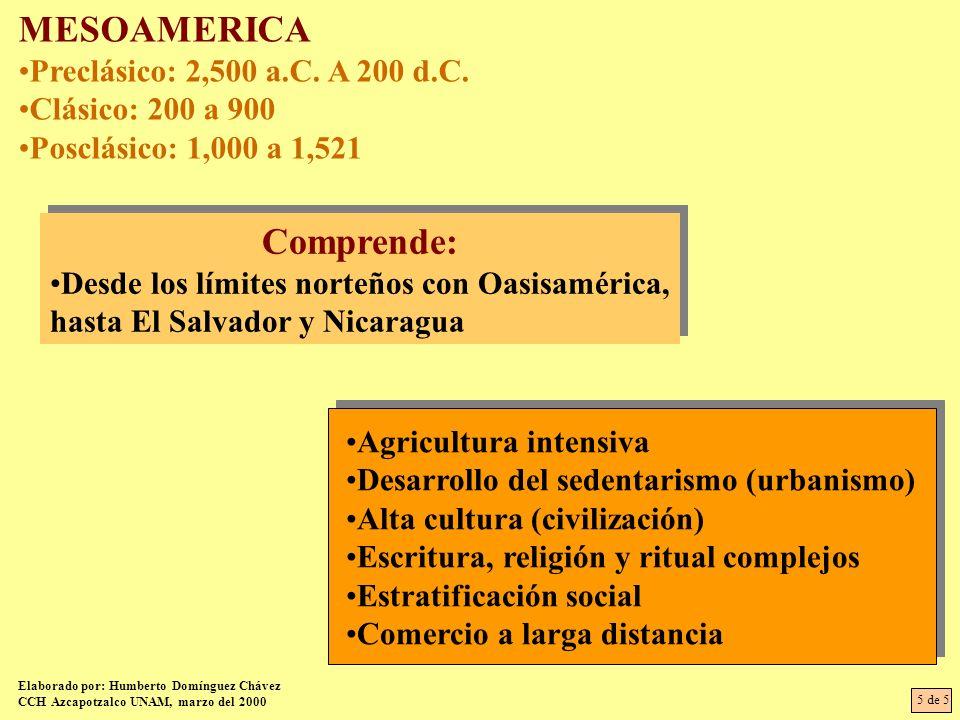 MESOAMERICA Comprende: Preclásico: 2,500 a.C. A 200 d.C.