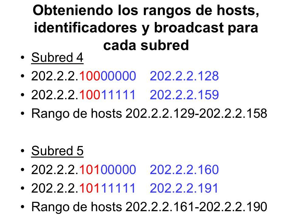 Obteniendo los rangos de hosts, identificadores y broadcast para cada subred