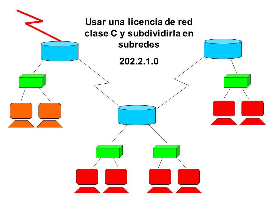 Usar una licencia de red clase C y subdividirla en subredes