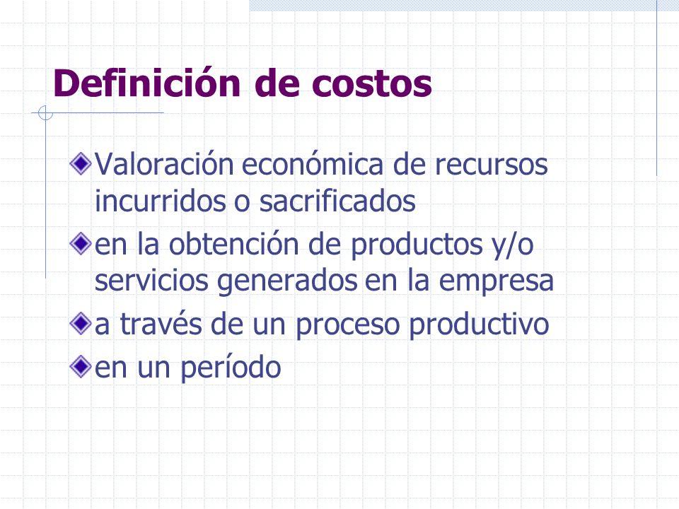 Definición de costos Valoración económica de recursos incurridos o sacrificados. en la obtención de productos y/o servicios generados en la empresa.