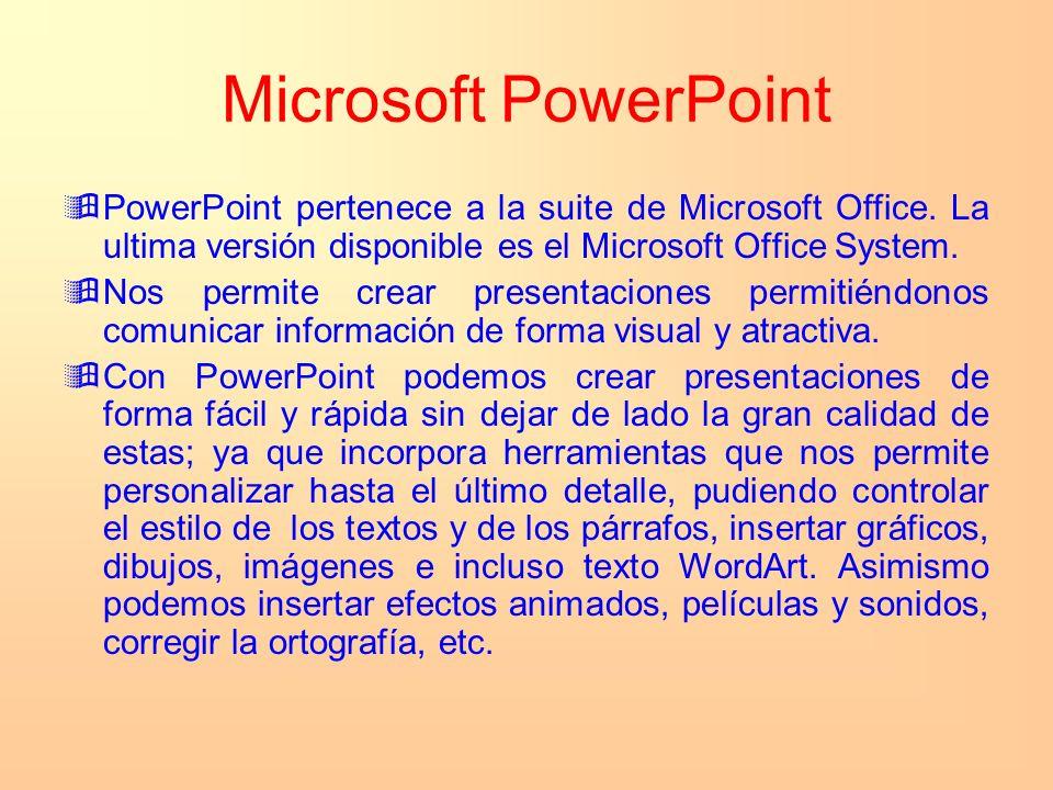Microsoft PowerPoint PowerPoint pertenece a la suite de Microsoft Office. La ultima versión disponible es el Microsoft Office System.