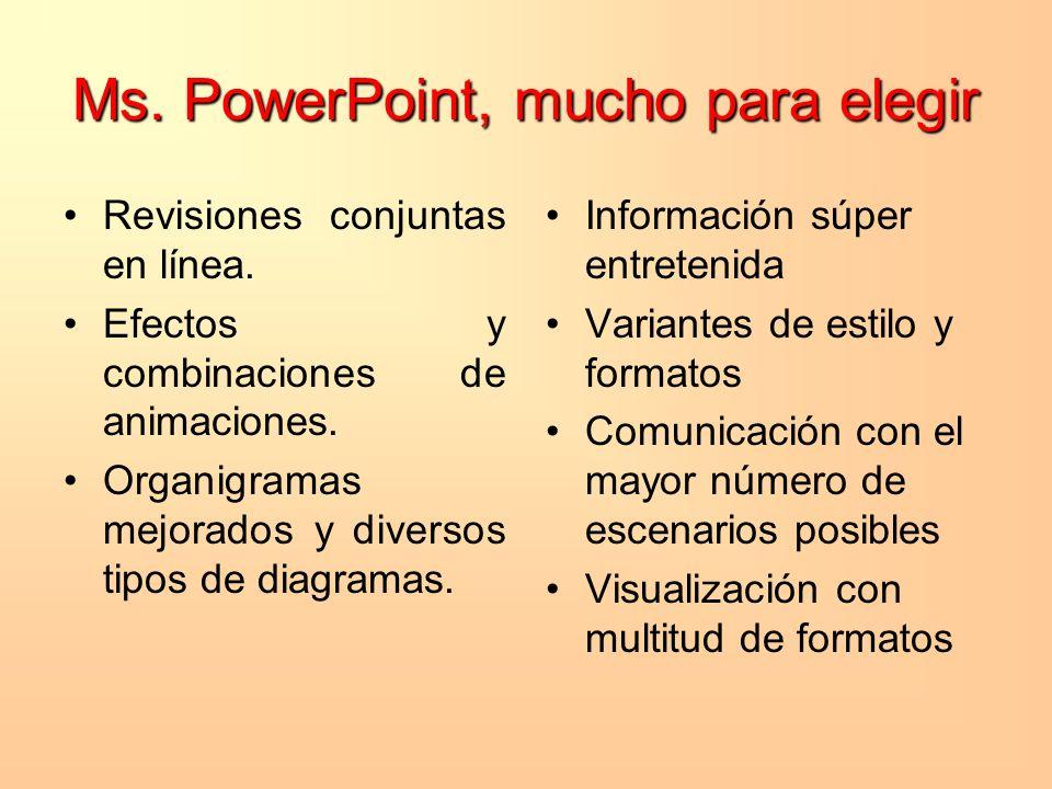 Ms. PowerPoint, mucho para elegir