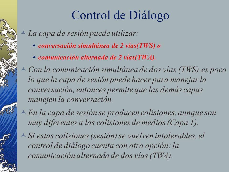 Control de Diálogo La capa de sesión puede utilizar: