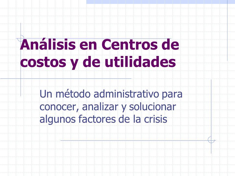 Análisis en Centros de costos y de utilidades