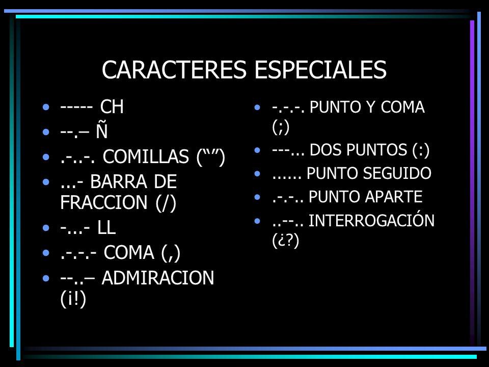 CARACTERES ESPECIALES