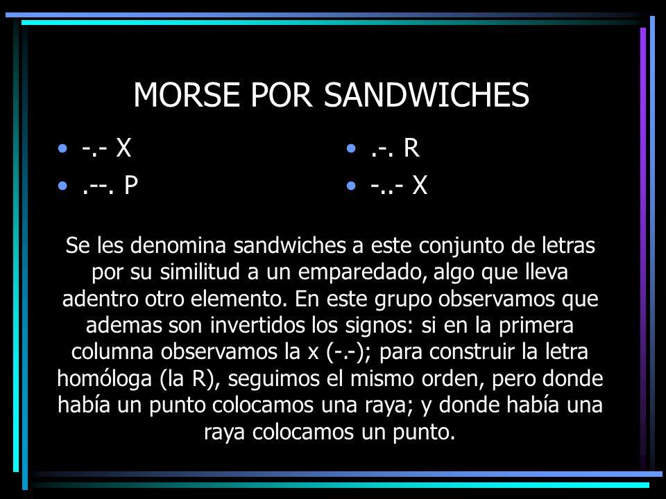 MORSE POR SANDWICHES -.- X .--. P .-. R -..- X