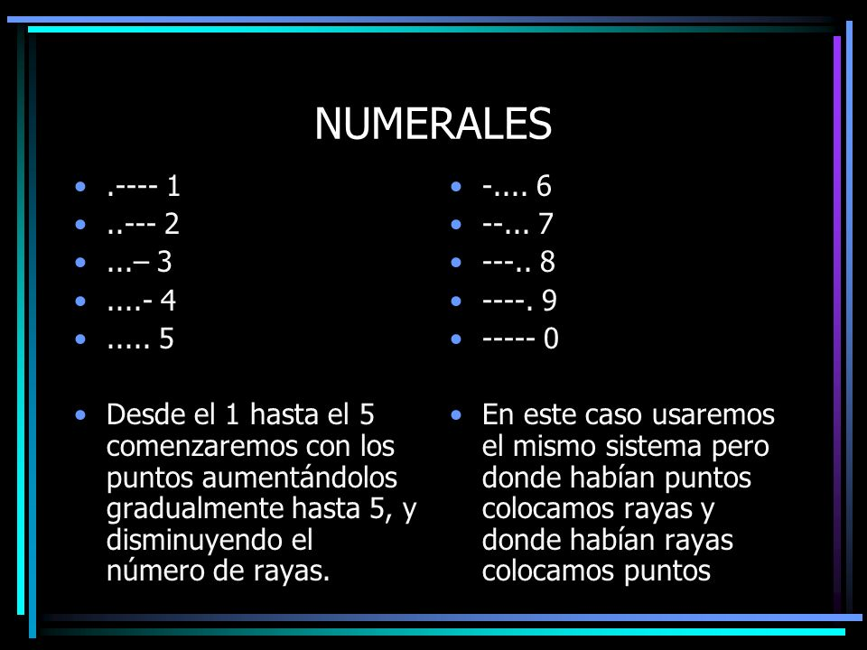 NUMERALES .---- 1. ..--- 2. ...– 3. ....- 4. ..... 5.