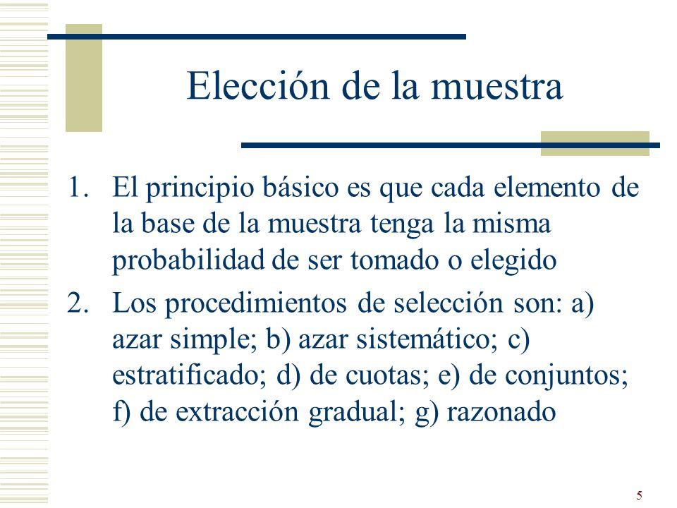 Elección de la muestra El principio básico es que cada elemento de la base de la muestra tenga la misma probabilidad de ser tomado o elegido.