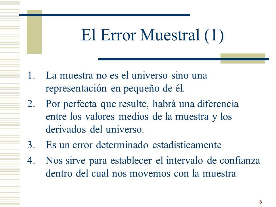 El Error Muestral (1) La muestra no es el universo sino una representación en pequeño de él.