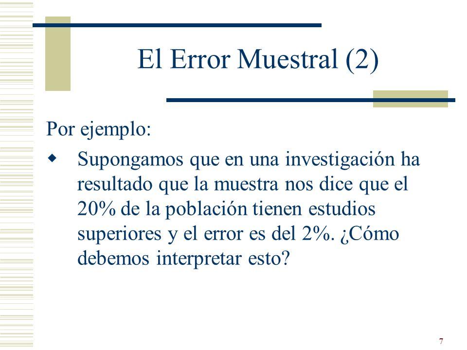 El Error Muestral (2) Por ejemplo: