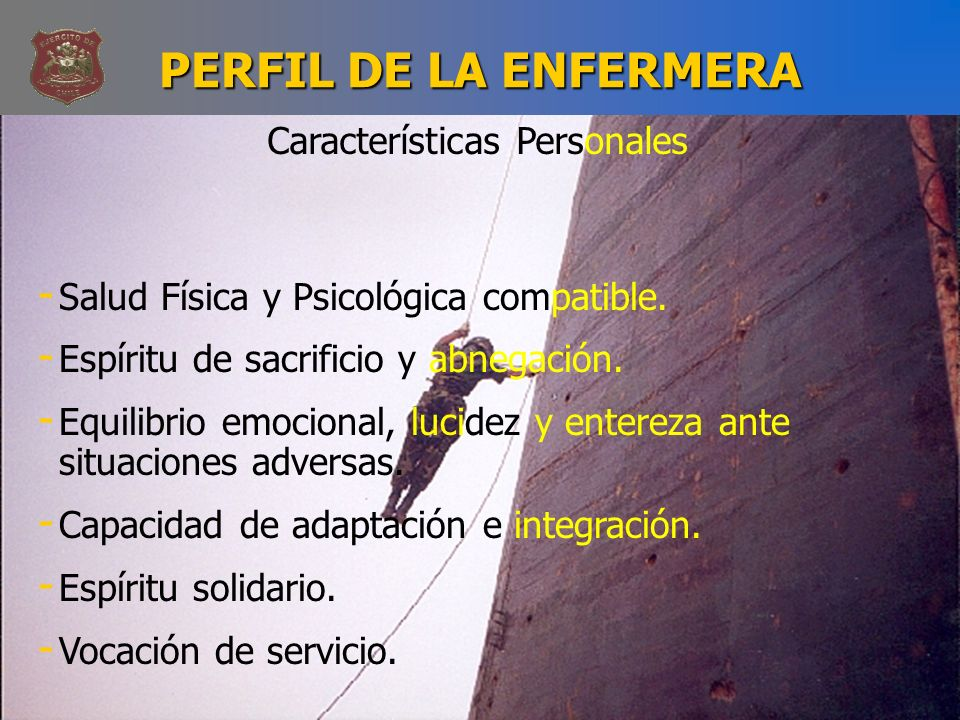 PERFIL DE LA ENFERMERA Características Personales