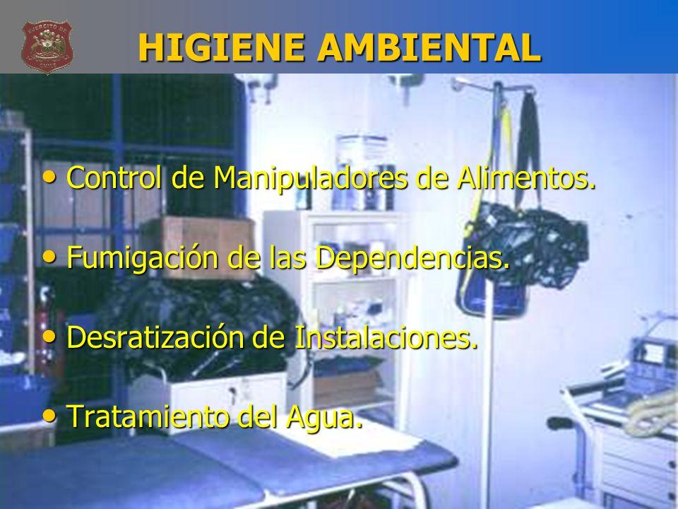 HIGIENE AMBIENTAL Control de Manipuladores de Alimentos.