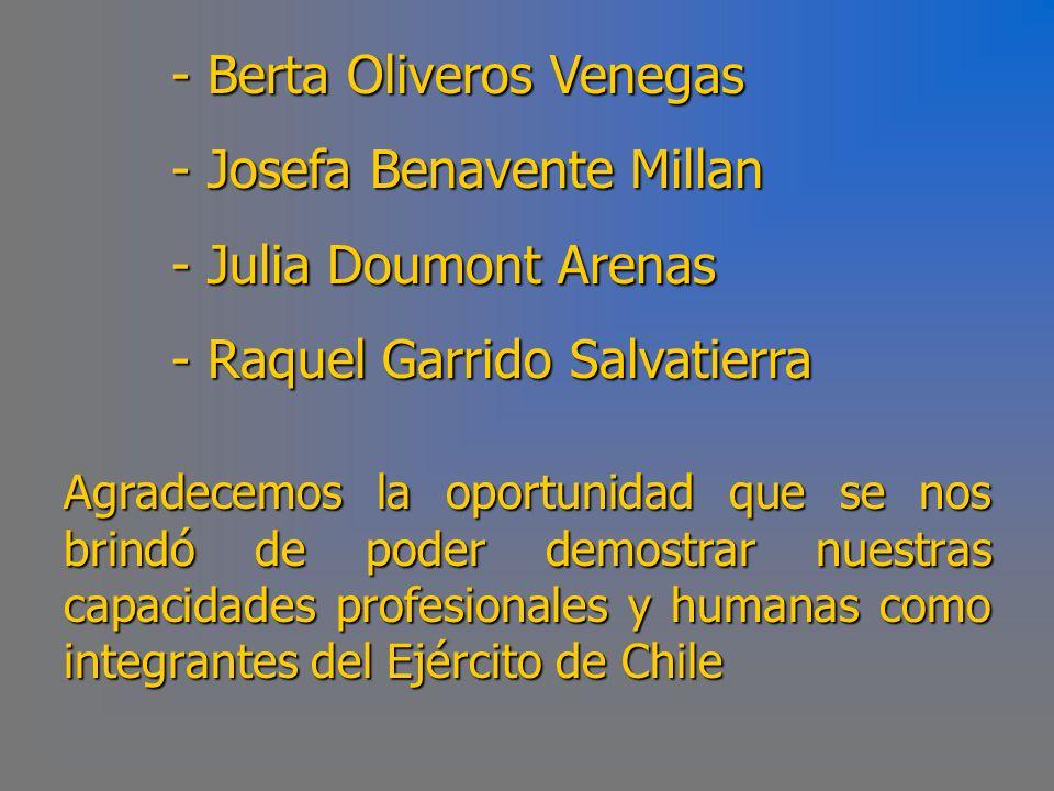 Berta Oliveros Venegas Josefa Benavente Millan Julia Doumont Arenas