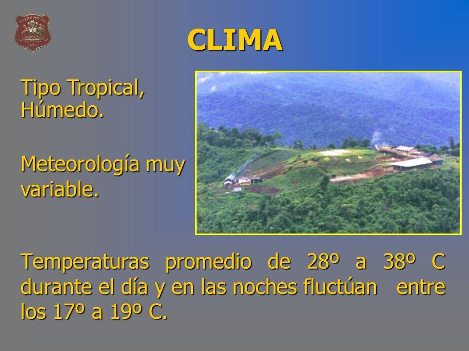 CLIMA Tipo Tropical, Húmedo. Meteorología muy variable.