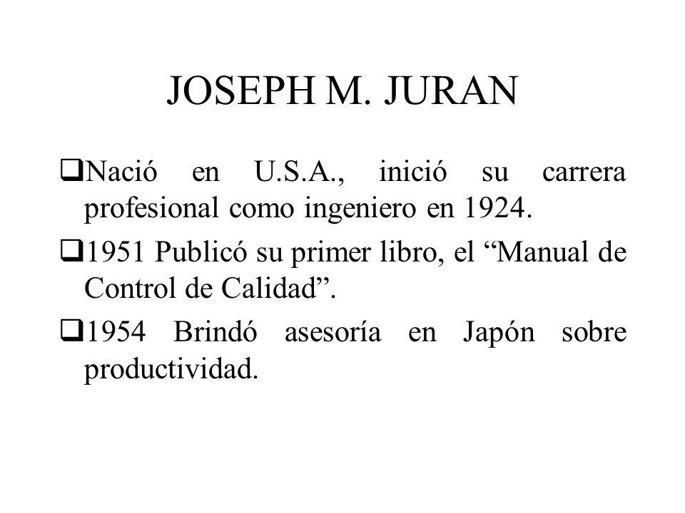 JOSEPH M. JURAN Nació en U.S.A., inició su carrera profesional como ingeniero en 1924.