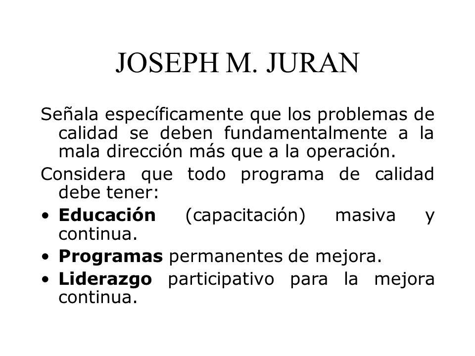 JOSEPH M. JURAN Señala específicamente que los problemas de calidad se deben fundamentalmente a la mala dirección más que a la operación.